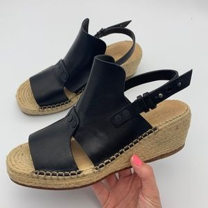 Rag & Bone Sayre II Leather Espadrille Black Wedge